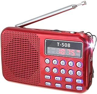 T508 Mini Portable LED Light Stereo FM Radio MP3 Music Player TF USB Speaker, Red