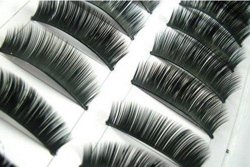 Simply Gorgeous - 10 paires de Noir Longs main faux cils volumineux