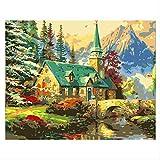 QZHYGE Cabaña Puente de Piedra Pintura al óleo Digital por número Kit DIY Pintura Arte Dibujo con Pinceles 40 * 50 cm Combinación Marco de Madera Decoraciones Regalos
