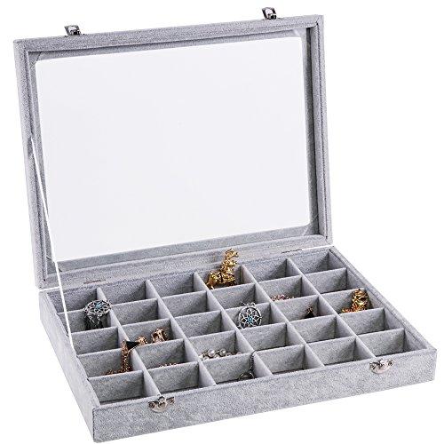 Meshela Damen-Schmuckkasten Schmucklade Ringbox Schmuckkästchen für Halskette, Armband, Ringe und Ohrringe grau (30 Fächer)