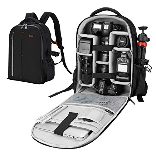 ESDDIPhoto Waterproof Camera Backpack Zaino per Fotocamera, Nero, Medium 32 Unisex-Adulto