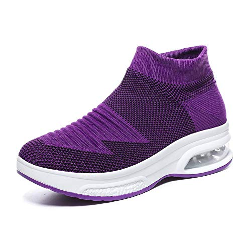 Women's Slip-on Walking Shoes - Air Cushion Mesh Casual Work Nursing Shoes Easy Fashion Sneakers Tennis Shoes Purple,5 B(M) US