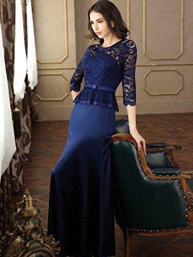 Miusol Damen Abendkleid 3/4 Arm Elegant Spitzen Kleid Brautjungfer Langes Cocktailkleid Navy Blau Gr.M - 2