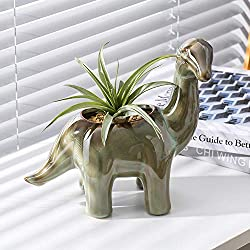 7. hjn Ceramic Dinosaur Shaped Planter Pot