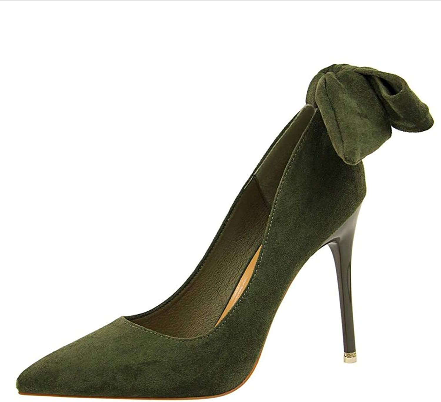 Court shoes Women's shoes shoes High Heel Butterfly Knot shoes European and American Style Super High Heel Suede Shallow Mouth Haiming (color   Green, Size   37)