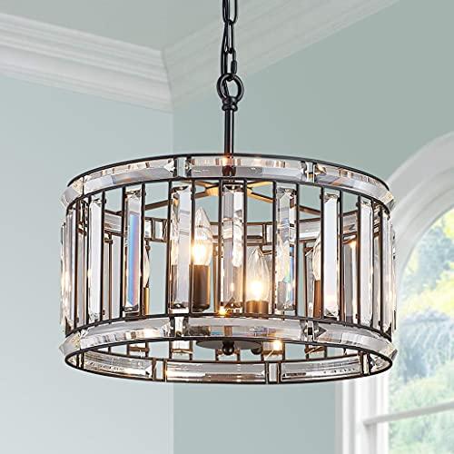 Bestier Moderno Negro colgante de cristal tambor araña iluminación lámpara de techo lámpara comedor comedor baño dormitorio sala de estar 4 E14 bombillas requeridas