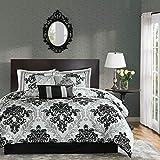 Madison Park MP10-514 Bella 7 Piece Comforter Set, King(104'x92'), Black