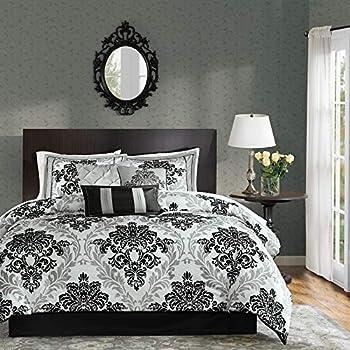 Madison Park Bella Comforter Set-Casual Damask Design All Season Cozy Bedding Matching Bedskirt Shams Decorative Pillows King 104 x92   Black 7 Piece