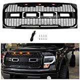 Seven Bears Direct Front Grill Replacement for Ford F150 2009-2014, Including XL, XLT, Lariat and FX4, Raptor Style Grille for F150 (Gloss Black)