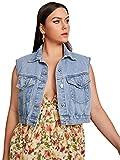 MakeMeChic Women's Plus Size Sleeveless Flap Pocket Button Front Denim Jacket Vest Blue 4XL