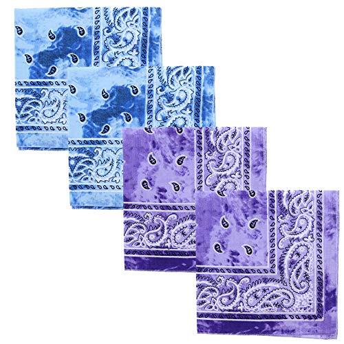 Motique Accessories Tie Dye Paisley Bandana - Set of 4-Blue Purple