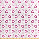 Lunarable Kiss Fabric by The Yard, Grunge Looking Lipstick