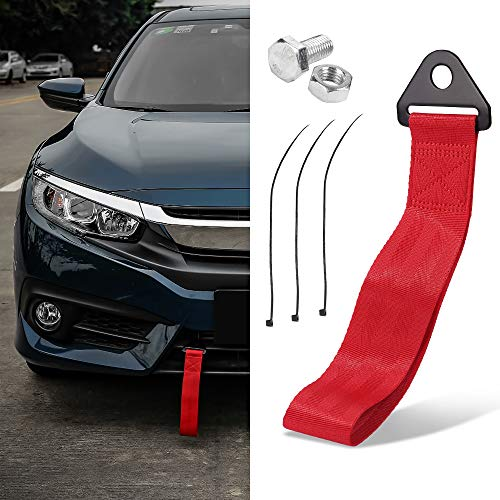 Thenice Tow Strap Racing Red High Strength JDM Style Towing Straps Universal Bumper Decals - Red