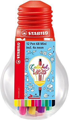 Pennarello Premium - STABILO Pen 68 Mini Colorful Ideas - Lampadina con 12 Pen 68 Mini - Colori assortiti