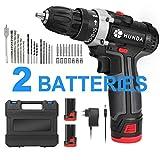 Perceuse Visseuse Sans Fil, HUNDA 31Pcs Kit Perceuse Electrique, 2 Batteries Li-ion 12.8V 3900mAh, Couple Maxi 28Nm, 2 Vitesses,...