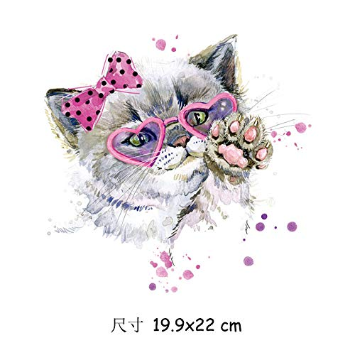 Transferencia térmica de hierro en parche,Pegatinas de Transferencia de Calor,Aplicar a camisetas, chaquetas, jeans, chaquetas, mochilas, animal avatar trend style little cat hembra