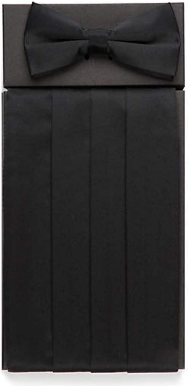 Ike Behar Solid Black Silk Cummerbund and Bow Tie Set