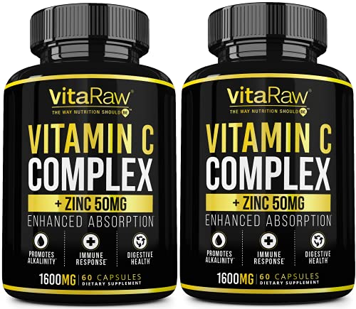 Vitamin C Supplement [2 Pack] 1600mg with Zinc 50mg |Highest Absorption| Vitamin C Immune Support Complex - Vitamin C Capsules & Zinc Vitamins for Adults | VIT C Immune Booster