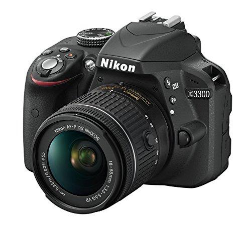 Nikon D3300 Kit Fotocamera Reflex Digitale, con Nikkor AF-P 18/55 VR, 24.2 Megapixel, LCD 3', SD 8 GB 300x Premium Lexar, Nero, [Nital Card: 4 Anni di Garanzia]