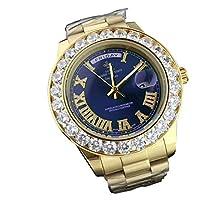 LGXIGE ブランド ラグジュアリー ファッション カジュアル 腕時計 メンズ ビッグクリスタル MKダイヤモンド 防水 ロール AAA メンズ 腕時計 腕時計 ブルー