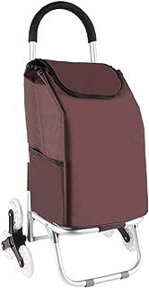 Asdfnfa Shopping Cart Aluminum Climbing Stairs Small Cart Folding Hand Luggage Cart asdfnfa (Color : Brown)