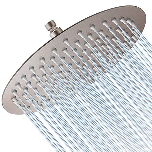 Rain Shower Head, 10 Inch Large Round High Pressure Showerhead,Ultra Thin Stainless Steel Whole Body Covered Rainfall Shower Head - Easy to Install and Clean (Brushed Nickel)