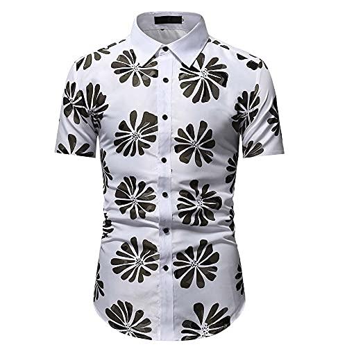 Camisa Hombre Slim Fit Verano Negocios Casual Hombre Manga Corta Urbano Moderno Caballero Hombre Henley Camisa Slim Fit Camisa Stretch Hombre Shirt B-White XL