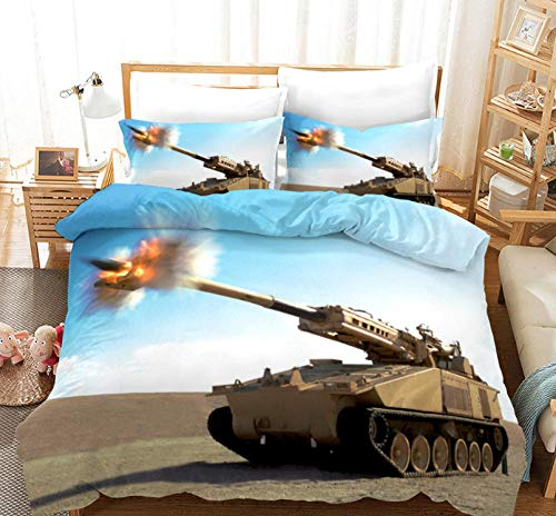 Duvet Quilt Cover Set - 3D War Tank/220X260cm Easy Care Cotton Blend Bedding Bedroom Decor Set | 1 Quilt Cover + 2 Pillow Cases | Zipper Closure | Anti-Allergic Duvet Cover For Kids And Adults