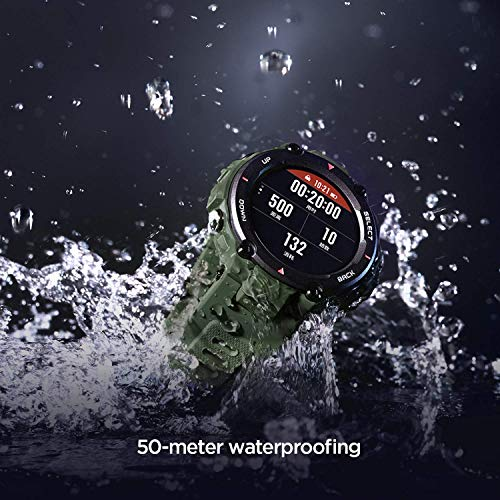 Huami Amazfit T-Rex Smart Watch with 20 Days Battery Life, AMOLED Display, Built-in GPS, 12 Military Certifications, Water Resistance, 14 Sports Modes (Army Green)
