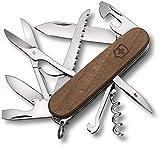 Victorinox Huntsman Wood Taschenmesser, aus Holz, 13 Funktionen, Grosse Klinge, Säge, Schere, nussbaumholz