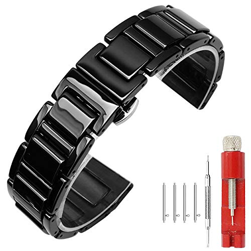 Kai Tian 22mm Schwarz Keramik Armbanduhr Quick Release Schnellverschluss Uhrarmband für Damen Herren Faltschließe Armband für Frauen Männer