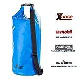 Xcase Wasserfeste Tasche: Wasserdichter Packsack 25 Liter, blau, aus strapazierfähiger LKW-Plane...
