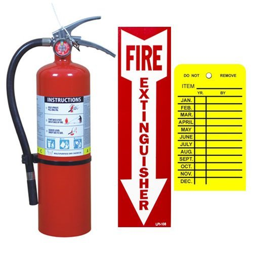 (Lot of 1) 5 Lb. Buckeye Type ABC Dry Chemical Fire Extinguisher with Wall Hook, Sign and Inspection Tag