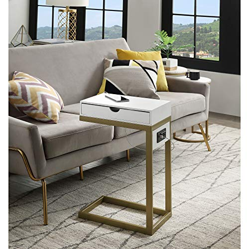 Loft Lyfe Adorna End Table - 2 USB Charging Ports, 2 Outlets, Power Plug   White/Gold