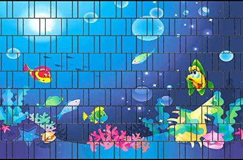 PerfectHD Zaunsichtschutz   30 Motive   Sichtschutzstreifen für Doppelstabmattenzaun   Windschutz Sonnenschutz Blickdicht   2,50m x 1,80m   19cm   9 Streifen   Fische