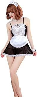 Women Sexy Mesh Lingerie French Maid Costume Cosplay Uniform Apron Dress Babydoll Seethrough Outfit