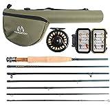 Maxcatch Reiserute Fliegenfischen Set 5/6 wt, 7 Stücke Fliegenrute und Fliegenrolle Set (6 weight)