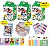 Fujifilm Instax Mini Film for Instant Camera (3 Twin Packs 60 Sheets White Film)+60 Sticker Frames +10 Paper Hanging Frames +5 Plastic Desk Frames +Standing Notebook Frames 10 Pockets + Corner Sticker