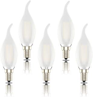 Phoenix-LED Bombillas Vela E14,Regulable Bombilla de Filamento, Carcasa de Vidrio Matte,Edison Estilo Vendimia,Blanco Cálido(2700k), 4W(equivalente a 40W), 400 Lúmenes, Pack de 5