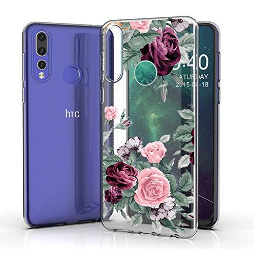 JIENI Hülle für HTC Desire 19 Plus,Weich Silikon Transparent Flexibel Rote Rose Schutzhülle Stoßkasten Handyhülle Hülle Bumper Handytasche TPU Schale Cover für HTC Desire 19 Plus (6.2
