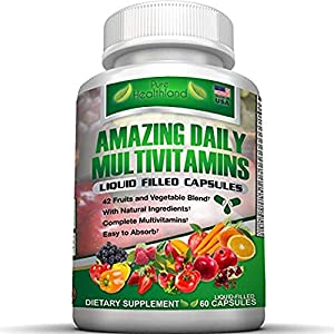 ❤ NOT YOUR AVERAGE MULTIVITAMIN: Our Pure Healthland brand LIQUID FILLED MULTIVITAMIN CAPSULES has a proprietary blend of 42 REAL FRUITS AND VEGETABLES (Yep, 42!) plus 21 ESSENTIAL VITAMINS AND MINERALS with thousands of happy customers! Proudly Made...