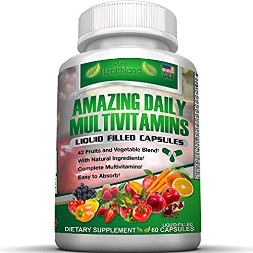 Liquid Filled Multivitamin Supplement Capsules For Men Women With 42 Fruits Vegetables Blend, 21 Essential Vitamins Minerals. Easy To Swallow