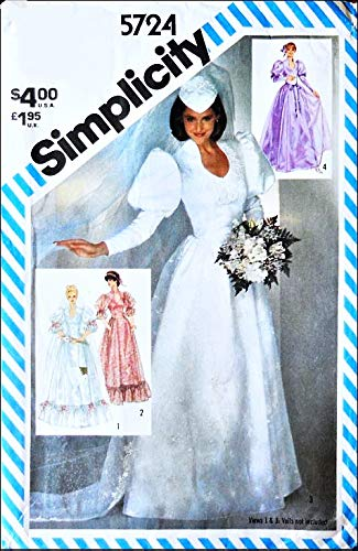 Simplicity 5724 Misses Brides and Bridesmaids Wedding Dresses with Detachable Train Vintage Sewing Pattern, Check Listings for Size