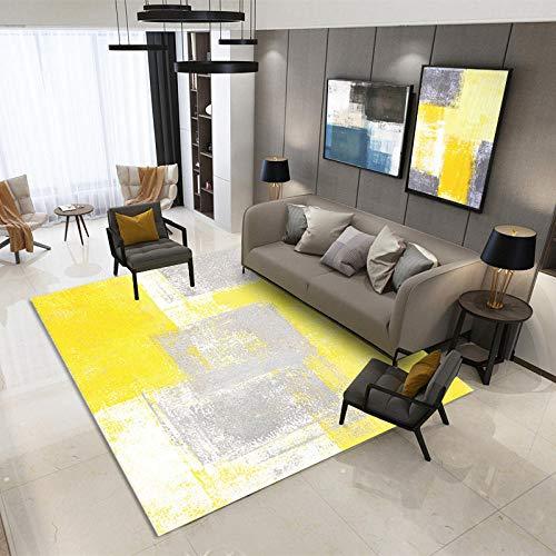 QiJi-Home Tapis Style Moderne Salon Chambre Cuisine canapé Table Basse bébé  Tapis Rampant Jaune Gris 80 * 120CM