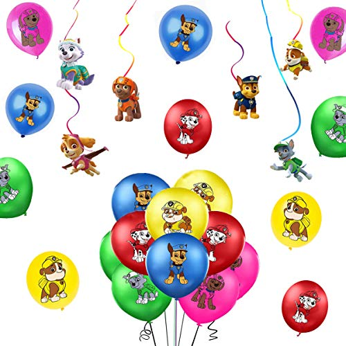 SUNSK Globos de Látex Paw Dog Patrol Cumpleaño Fiestas Decorar Patrulla Canina Serpentinas Techo Guirnalda Happy Birthday Party Decoración 26 Piezas