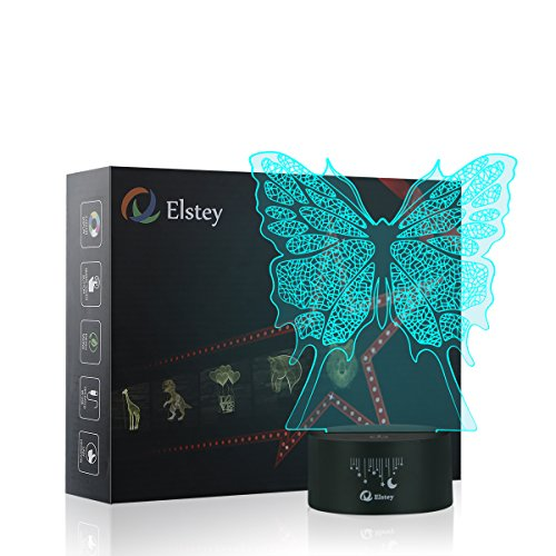 Butterfly 3D LED Night Light Lamps, Elstey 3D Optical Illusion 7 Colors Touch Table Desk Visual Lamp for Home Decoration