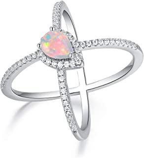OPALBEST 18K White Gold/Rose Gold Plated Pear Opal Crossover X Ring for Women