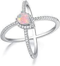OPALBEST 18K Gold Plated Opal Criss Cross X Ring for Women