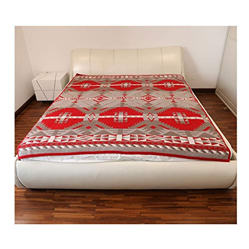 100% Wool Blanket, Knitted Blanket, Oversized Bedroom Bed, Sofa, Throw, Couch, Luxury And Durable Vacation Wedding Housewarming Gift, 184 200CM, Red ( Color : Red(184200cm/72.4478.74in) )