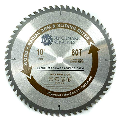 Benchmark Abrasives 10' 60T TCT Wood Saw Blade for Finishing on Sliding Miter & Radial Arm Saws